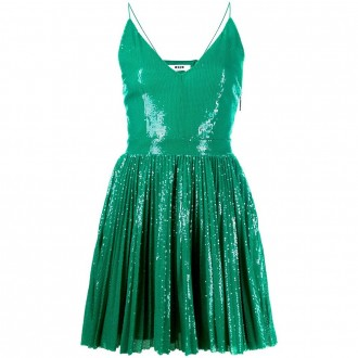 Short Dress With Green Paillettes