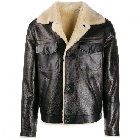Sherling Bomber With Leather Patch Pockets