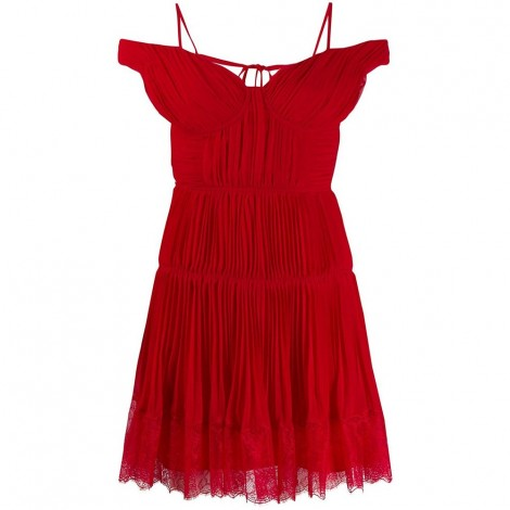 Mini Dark Red Chiffon Dress With Discovered Shoulders