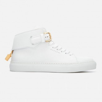 Women's 100MM Buckle Hi-Top Trainers - White/White