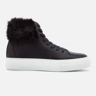 Women's 140MM Fur Hi-Top Trainers - Black/Black