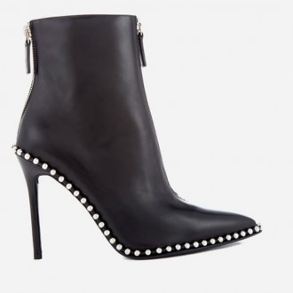 Women's Eri Leather Studded Heeled Ankle Boots - Black