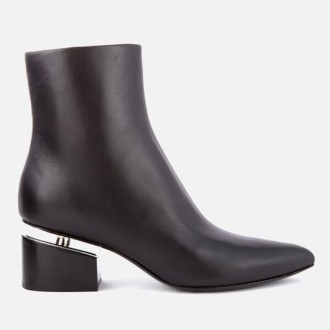 Women's Jude Leather Heeled Ankle Boots - Black