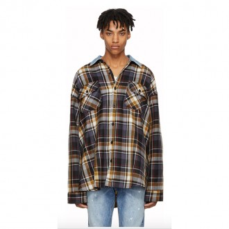 Purple Oversized Plaid Denim Collar Flannel Shirt