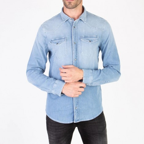 Shirt Western Basic Light Blue