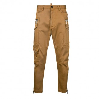zip-detail fitted trousers