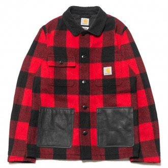 eYe x Carhartt Wool Check x Cowhide Jacket Red/Black