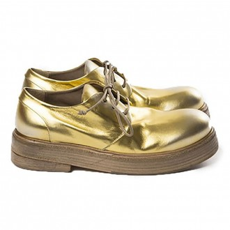 Gold Leather Lace-Up Shoes