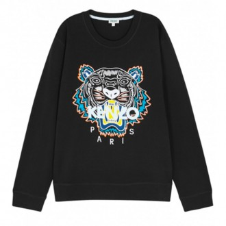 Black tiger-embroidered cotton sweatshirt