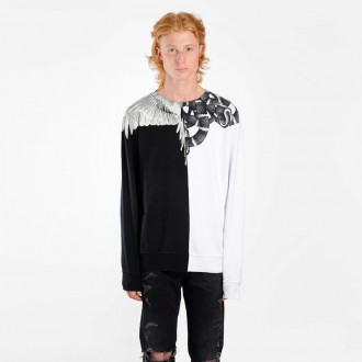 MEN'S BLACK AND WHITE SNAKE AND WING CREWNECK SWEATER