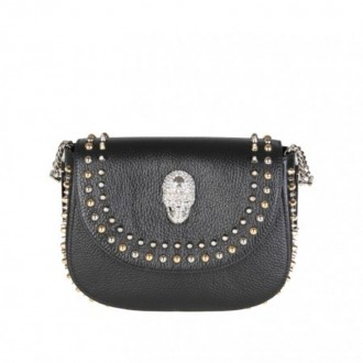 MINI SHOULDER MICKY IN BLACK LEATHER WITH STUDS