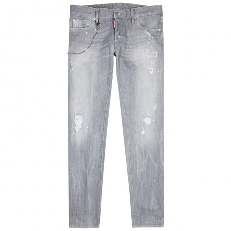 Light grey distressed slim-leg jeans