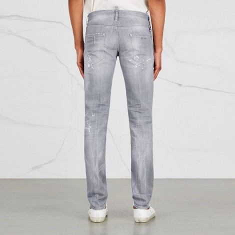 Light grey distressed slim-leg jeans