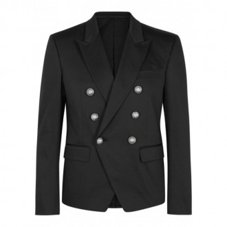 Black double-breasted cotton blend blazer