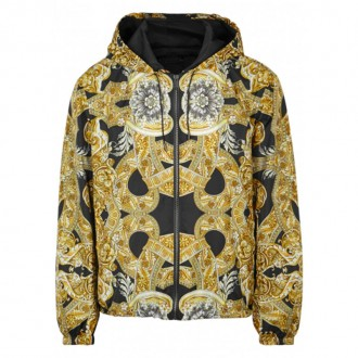 Baroque-print shell jacket