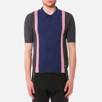 3 Button Striped Knitted Polo Shirt