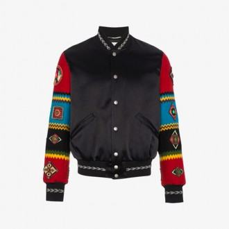 Wool Varsity Jacket With Embroidered Sleeves