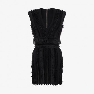 Sleeveless Mini Dress With Fringing