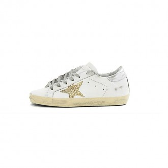 WHITE LEATHER SNEAKER WITH GOLD GLITTER DETAILS