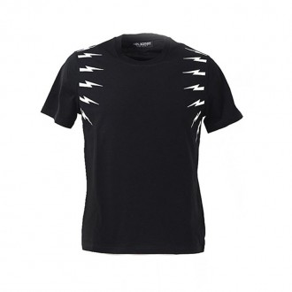 BLACK T-SHIRT WITH LIGHTNING BOLT