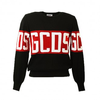 BLACK AND RED COTTON LOGO JUMPER