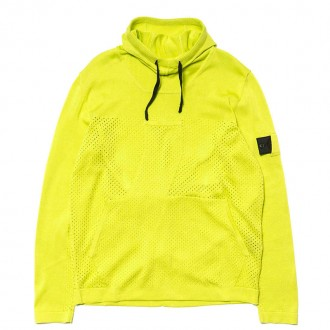 Mercerized Pure Cotton Stocking Mesh Stitch Pullover Hoody Limone