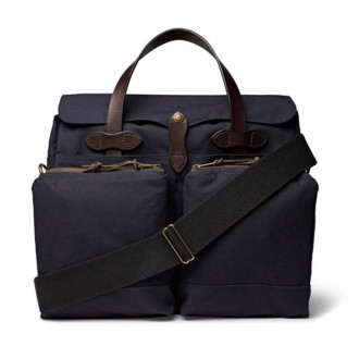 24-Hour Leather-Trimmed Tin Cloth Briefcase