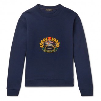 Embroidered Fleece-Back Cotton-Blend Jersey Sweatshirt
