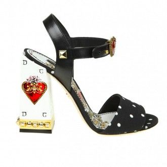 SANDAL IN CADY PRINTED IN POIS WITH JEWEL HEEL