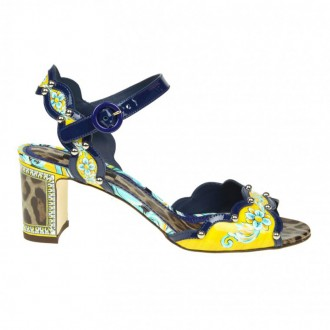 SANDAL KEIRA IN PATENT MAIOLIC LEO PRINT WITH APPLICATIONS