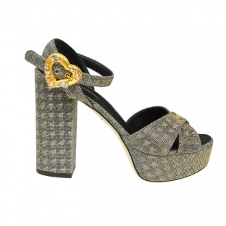 SANDAL KEIRA IN LUREX FABRIC COLOR SILVER / GOLD