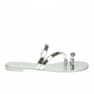 BAUHAUS SANDAL IN SILVER MIRROR LEATHER