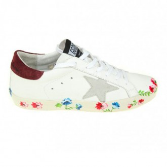 SUPERSTAR SNEAKERS IN LEATHER WITH FLOWER PRINT