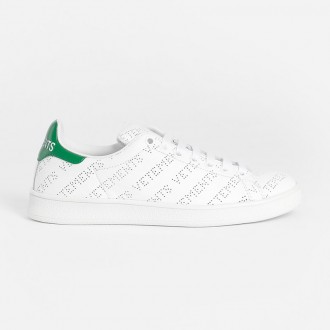 WHITE PERFORATED LOGO SNEAKERS