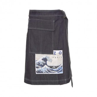 Kanagawa Wave cotton-denim skirt