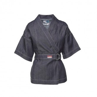 Kimono wrapped cotton-denim top