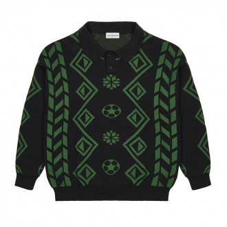 Geometry Knit Sweater (Black/Green)