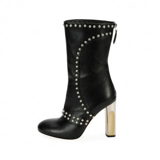 Studded Leather Zip Bootie