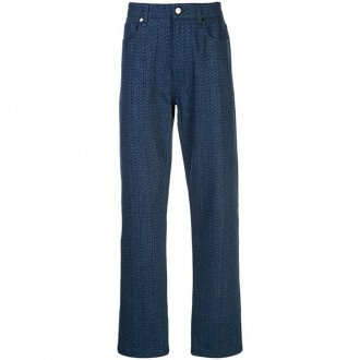 Oversized Blue Trousers With Micro Logo