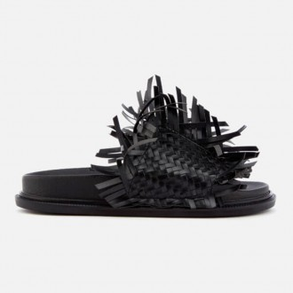 Women's Tassel Slip On Sandals - Black