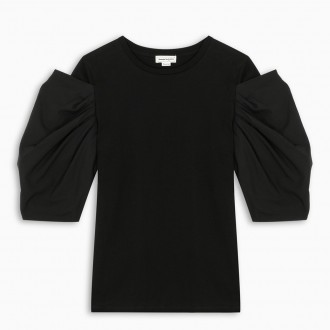 Black T-shirt With Balloon Sleeves