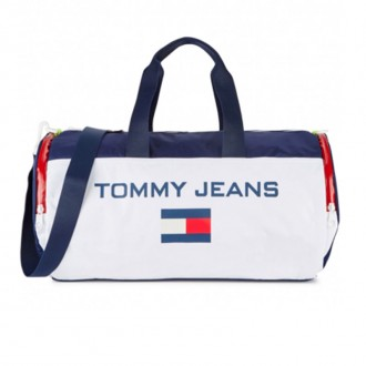 Logo-print colour-block shell holdall