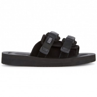 Moto-M black suede sliders
