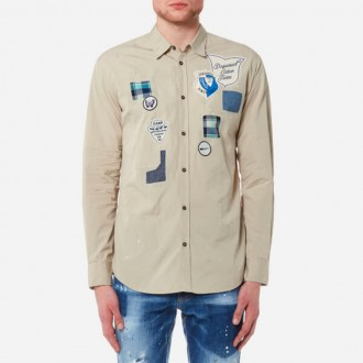 Men's Scout Badges Relax Dan Fit Shirt - Stone