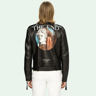 Off-White Giorgio De Chirico leather biker jacket