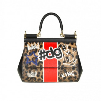 BAG IN LEATHER WITH MURALES PRINT