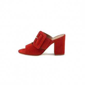 RED LEATHER BUCKLED OPEN-TOE SANDAL