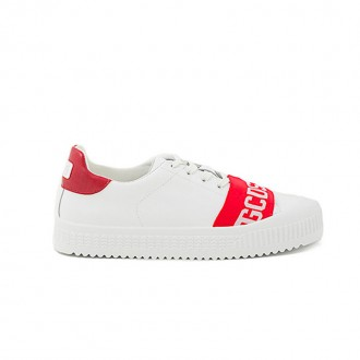 WHITE AND RED LEATHER FRONT PRINTED STYLE SNEAKER