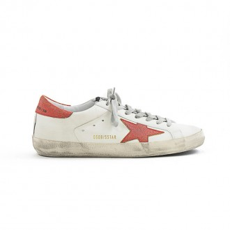 WHITE LEATHER SNEAKER WITH RED DETAILS