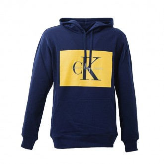 BLUE HOODIE WITH YELLOW LOGO PRINT